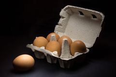 Fresh eggs in carton dark photography Royalty Free Stock Photography