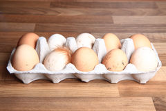 Fresh eggs with chicken feather Royalty Free Stock Photos