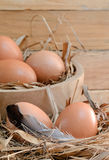 Fresh eggs. In the a chicken nest and some in wooden bowl on wooden background Stock Image