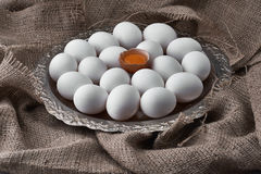 Fresh eggs collected on a tray for cooking on the fabric. Ecological natural fresh eggs collected on a tray for cooking on the fabric royalty free stock image