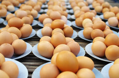 Fresh eggs on disk. For sale at a market Stock Image