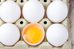 Fresh Eggs in egg carton Stock Photo