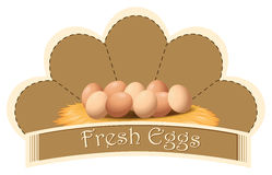 A fresh eggs label with eggs Royalty Free Stock Photography