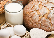 Fresh eggs and a lot of breads Royalty Free Stock Image