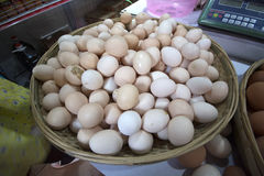 Fresh eggs at the market. Royalty Free Stock Photos
