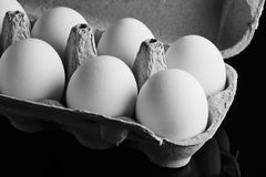 Fresh eggs in the opened box stock images