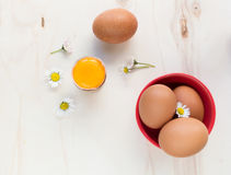 Fresh eggs. Fresh organic eggs whole and raw yolk. Some daisies on a wooden surface Stock Photography