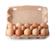 Fresh eggs in paper tray Royalty Free Stock Photography