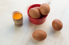 Fresh eggs and raw yolk Royalty Free Stock Image