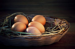 Fresh eggs on rice straw with brown wood background Royalty Free Stock Photos
