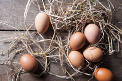 Fresh eggs on rice straw at country farm Royalty Free Stock Photography