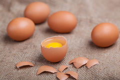 Fresh eggs on sacking, broken eggshell, yolk. Fresh eggs on sacking, broken eggshell yolk Stock Photos
