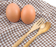 Fresh eggs and spoon Royalty Free Stock Image