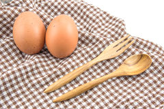 Fresh eggs and spoon Stock Photo