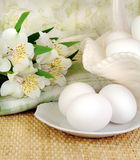 Fresh Eggs With White Flowers Royalty Free Stock Images