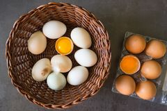 Fresh eggs in a wicker basket. Concept of organic products. Farm Royalty Free Stock Image