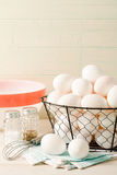 Fresh Eggs In A Wire Basket Stock Image