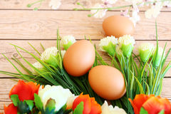 Fresh eggs. On wood background Stock Photography