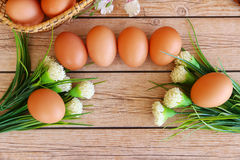 Fresh eggs. On wood background Royalty Free Stock Image