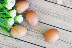 Fresh eggs. On wood background Royalty Free Stock Images