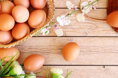 Fresh eggs. On wood background Royalty Free Stock Photography