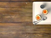 Fresh eggs on wood background. Stock Images