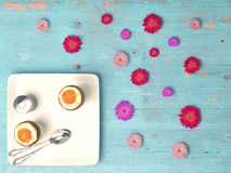 Fresh eggs on wood background. Royalty Free Stock Photography