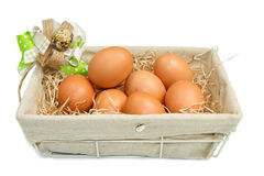 Fresh eggs in a wooden box Stock Photos