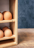 Fresh Eggs in Wooden Box Royalty Free Stock Image