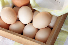 Fresh eggs in wooden box Royalty Free Stock Photo