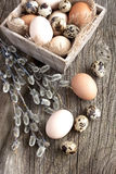 Fresh eggs on  wooden box on a table Stock Image