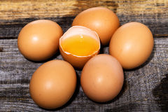 Fresh eggs on wooden table Royalty Free Stock Photography