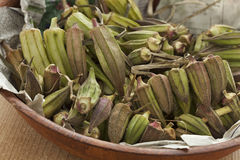 Fresh Egyptian okra. In a bowl Stock Image