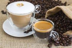 Fresh espresso and cappuccino Royalty Free Stock Photos
