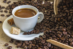Fresh espresso coffee in white cup with lump sugar, cinnamon and Royalty Free Stock Photo