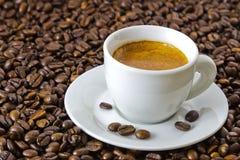 Fresh espresso at roasted coffee beans. Fresh espresso in a white cup at roasted coffee beans Royalty Free Stock Photos
