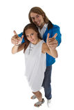Fresh european couple with long hair Royalty Free Stock Photos