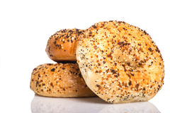 Fresh Everything bagels on a white background Royalty Free Stock Photo