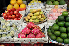 Fresh exotic fruit. An array of fresh exotic fruit at a market in hanoi Royalty Free Stock Photography