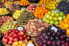 Fresh exotic fruits in Mercado Dos Lavradores. Funchal, Madeira, Royalty Free Stock Image