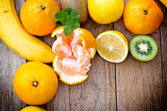 Fresh exotic fruits. (tropical fruits) on table Royalty Free Stock Images