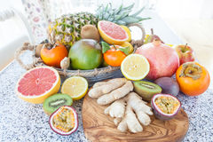 Fresh exotic fruits. Variety of fresh exotic fruits in a tin tray royalty free stock images