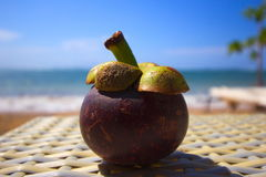 Fresh exotic mangostin fruit at a balinese beach Stock Photography