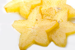 Fresh exotic tropical juicy star fruit sliced Stock Image