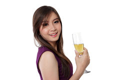 Fresh face and champagne, on white royalty free stock photos
