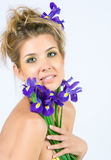 Fresh face with irises Royalty Free Stock Photo