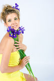Fresh face with irises Royalty Free Stock Images