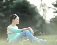 Fresh face, young woman portrait outdoors in sunlight in the Park. Fresh face young woman portrait outdoors in the sunlight royalty free stock photography
