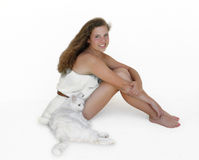 Fresh face of youth. Happy teenage girl with her white cat Stock Images