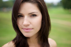 Fresh Faced Girl With Green Background Royalty Free Stock Photo